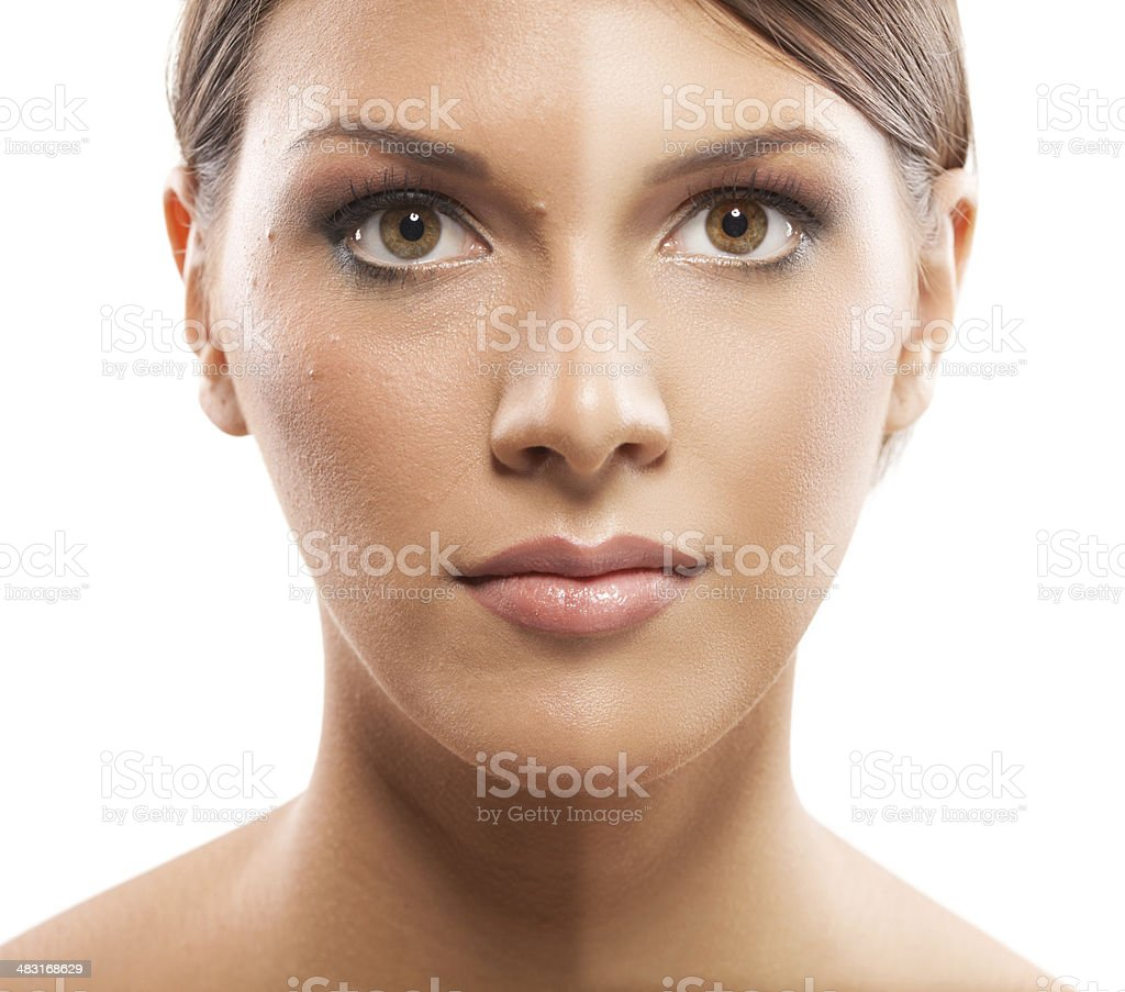 Before and after ... cosmetics, make up, photo retouch stock photo
