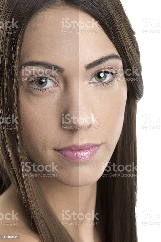 Before and after, good - bad beauty retouch. stock photo