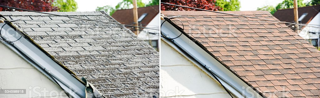 Before and After hosue roof tiles stock photo