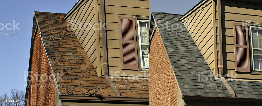 Before and After images of a roofing job stock photo