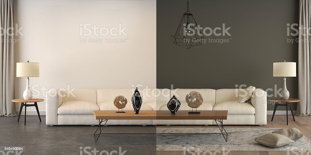 Before and after, living room interior comparison, light vs dark stock photo