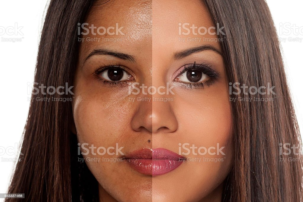 before and after make up stock photo