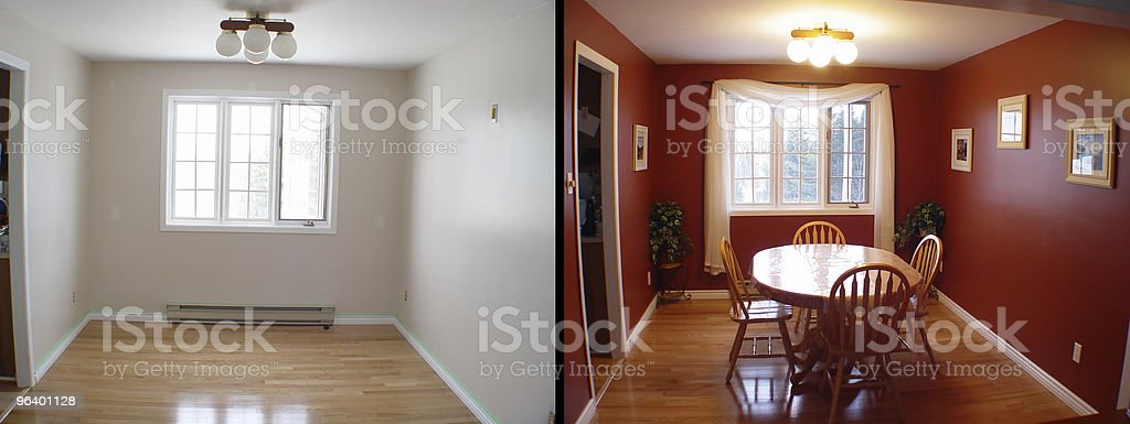 Before and After of dining room royalty-free stock photo
