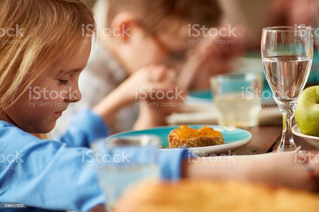 Before meal prayer stock photo