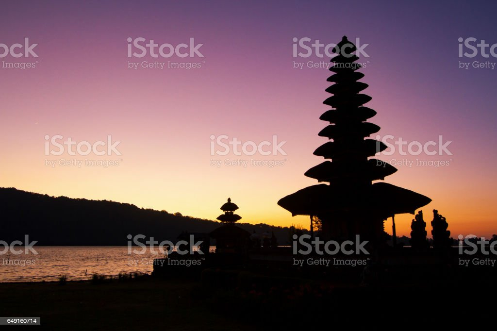 Before sunrise at Pura Ulun Danu Bratan temple on Bali, Indonesia stock photo