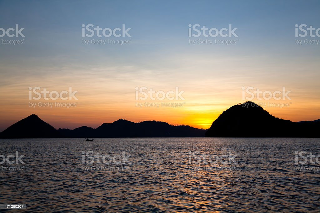 Before Sunrise in the Archipelago North of Flores, Indonesia royalty-free stock photo