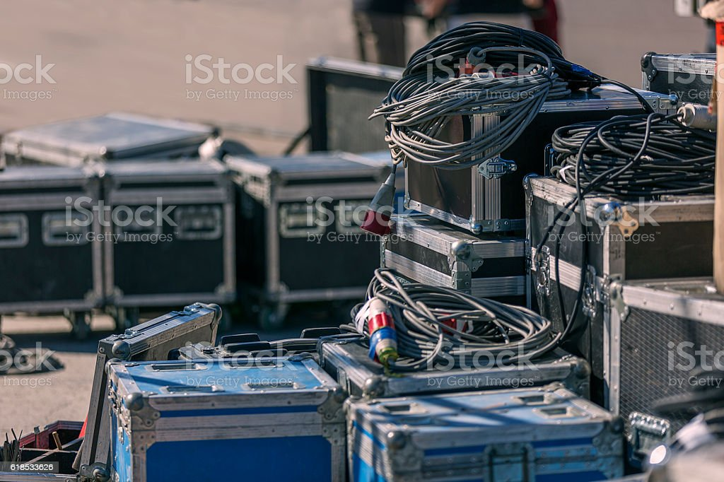 Before the concert. Boxes with equipment stock photo