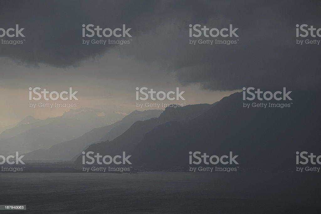 Before the storm at Lake Geneva, Switzerland stock photo
