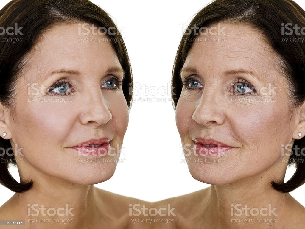 Before-and-after makeover shots of mature woman royalty-free stock photo