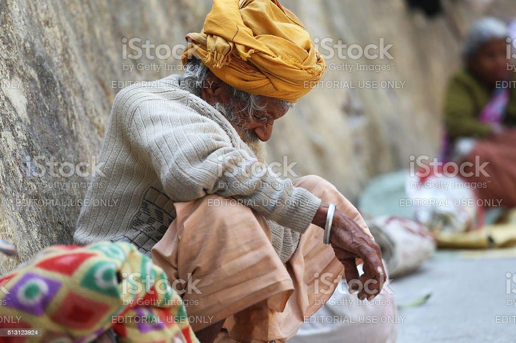 Beggar begging at Har Ki Pauri stock photo
