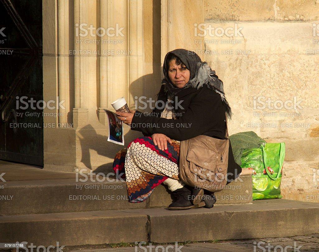Beggar in Munster, Germany stock photo