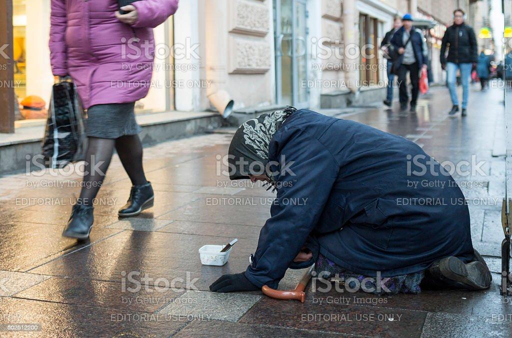 Beggar in Saint Petersburg stock photo