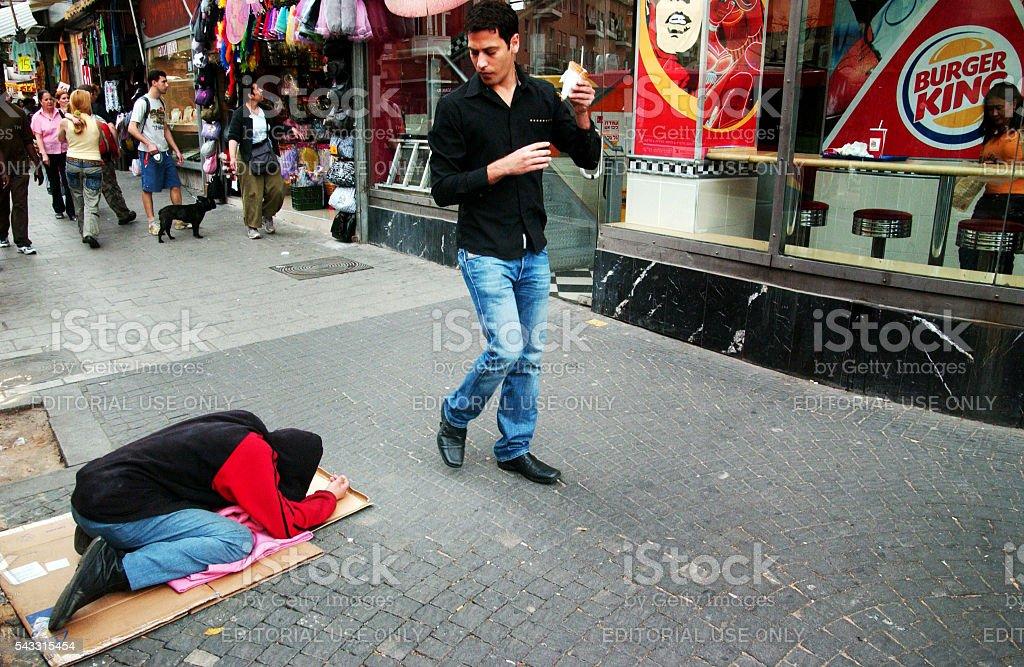 Beggar in Tel Aviv - Israel stock photo
