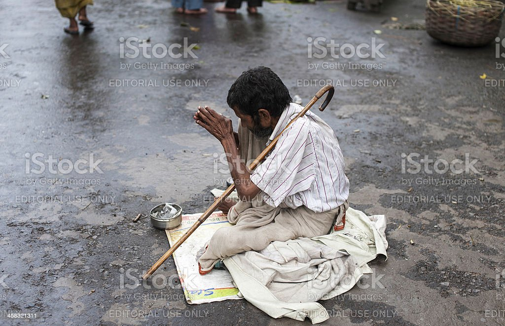 Beggar, Kalighat, Kolkata, India. stock photo