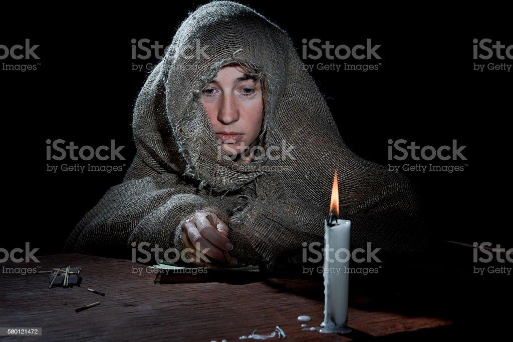 Beggar or nun stock photo