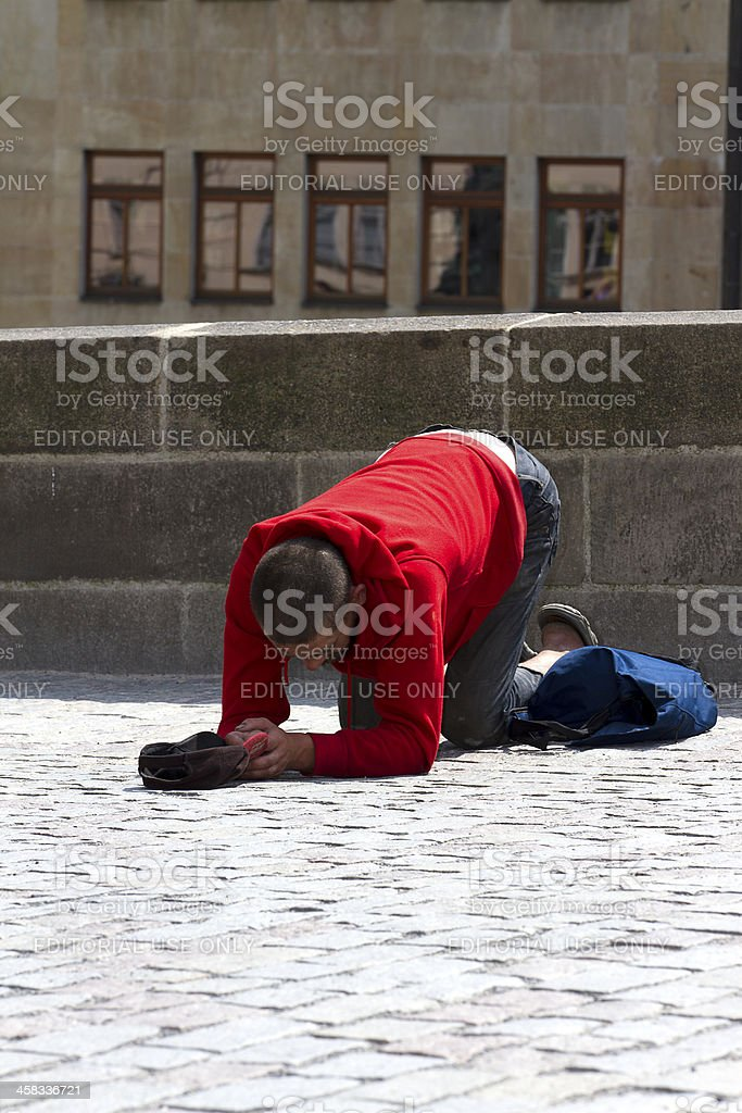 Beggar, Prague stock photo