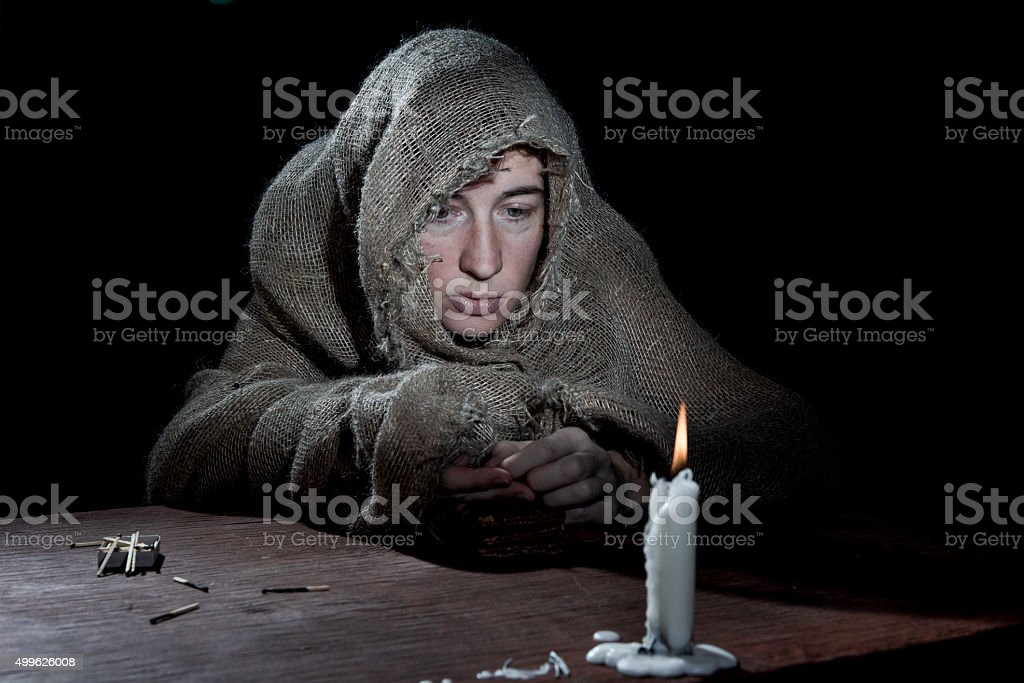 Beggar woman stock photo