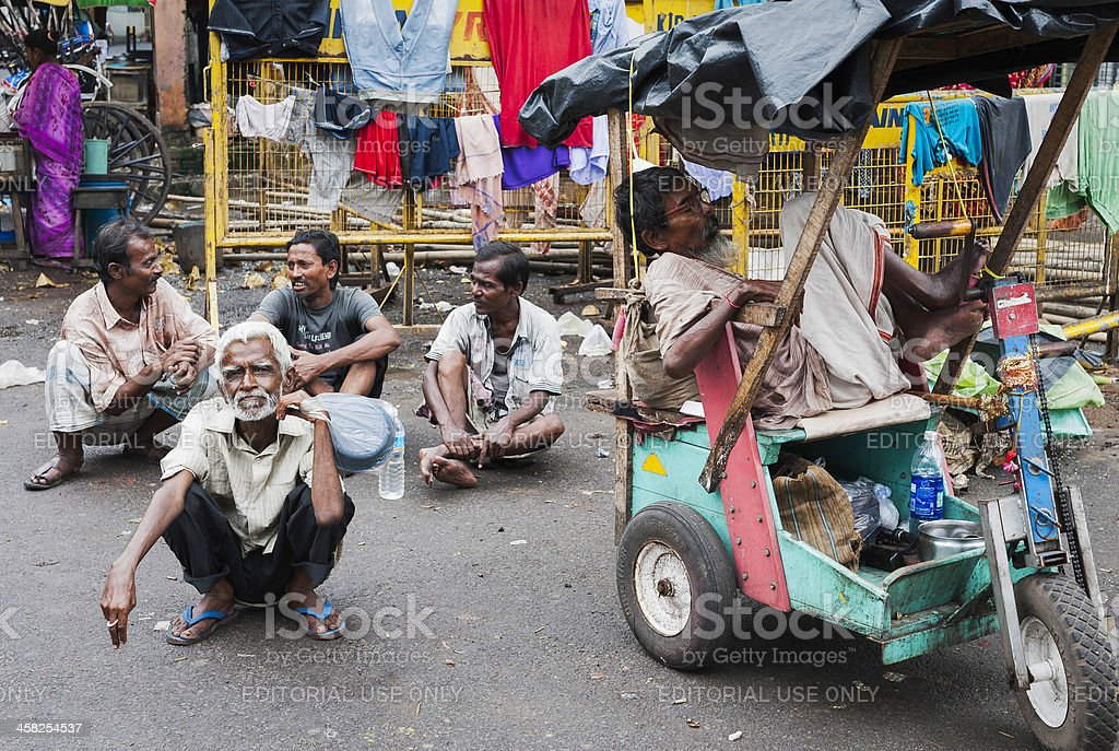 Beggars in Kalighat, Kolkata, India. stock photo