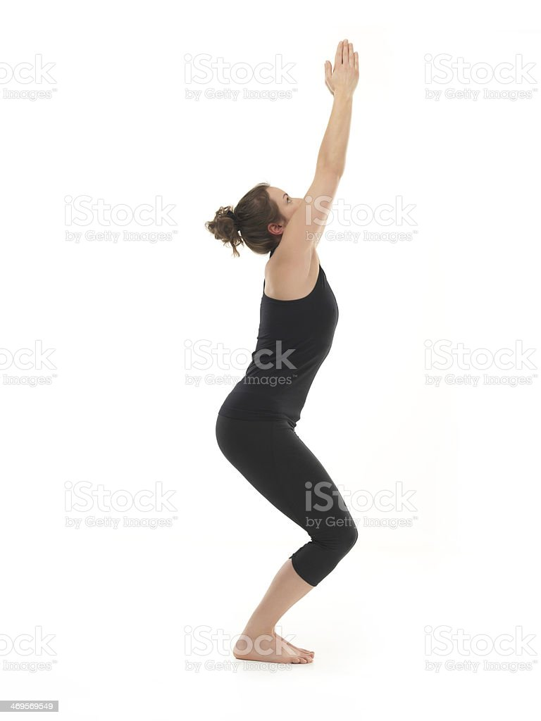 begginer hatha yoga posture stock photo