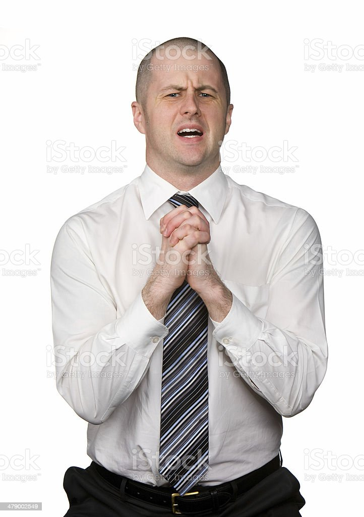 Begging Businessman stock photo