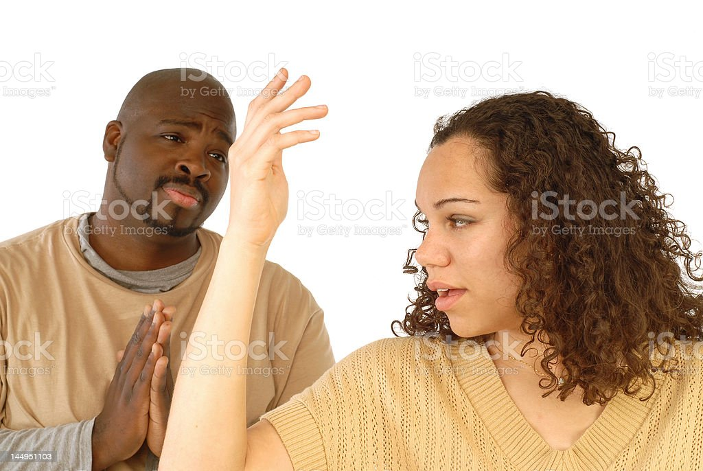 Begging for forgiveness royalty-free stock photo