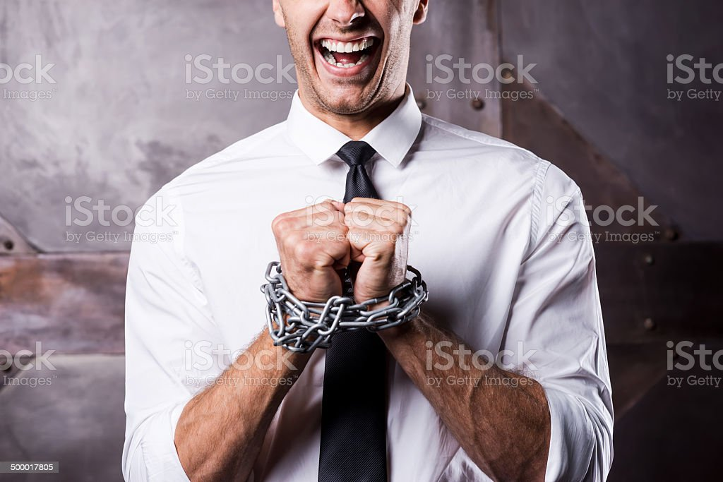 Begging for freedom. stock photo