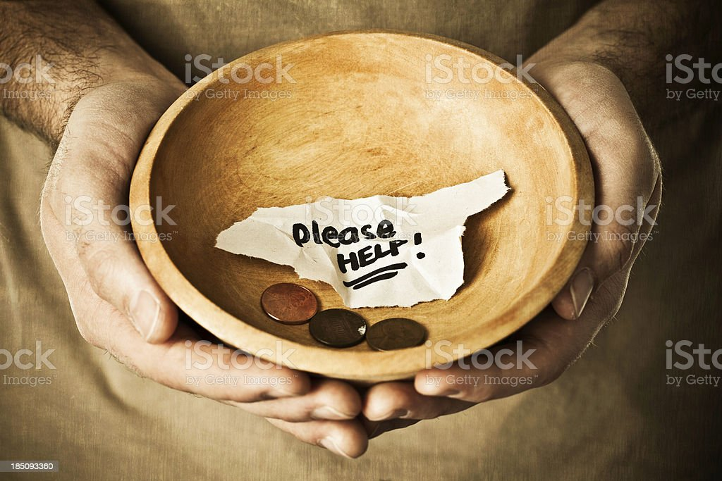 Begging for Money or Food royalty-free stock photo