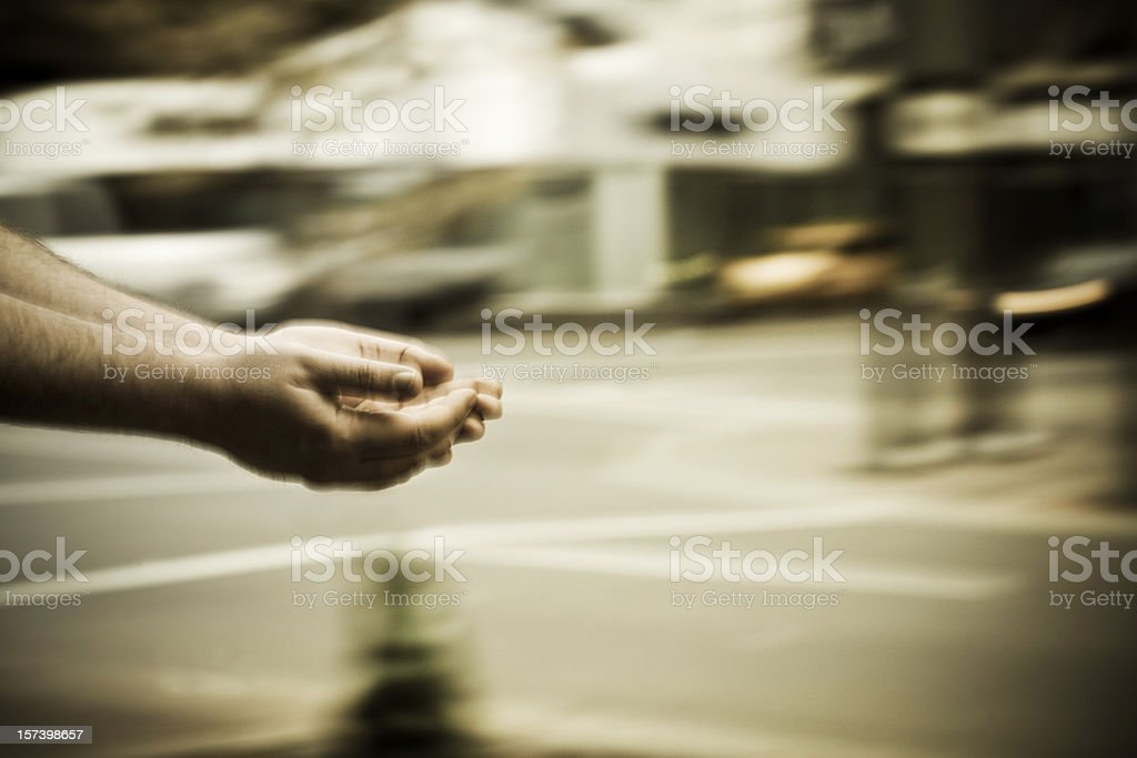 Begging hands stock photo