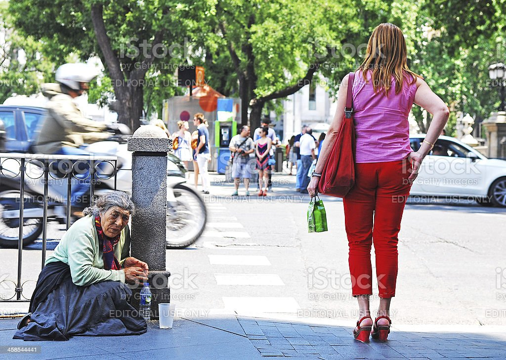 Begging in Madrid. royalty-free stock photo