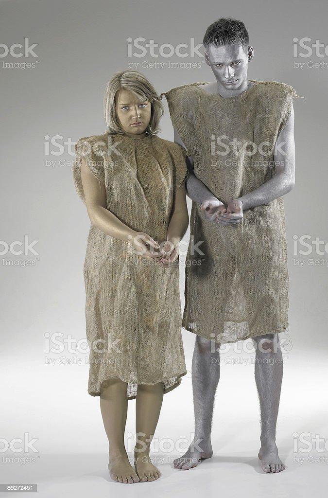 begging poor couple stock photo