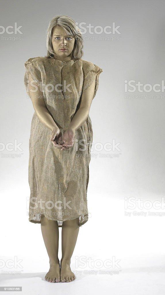 begging poor girl stock photo