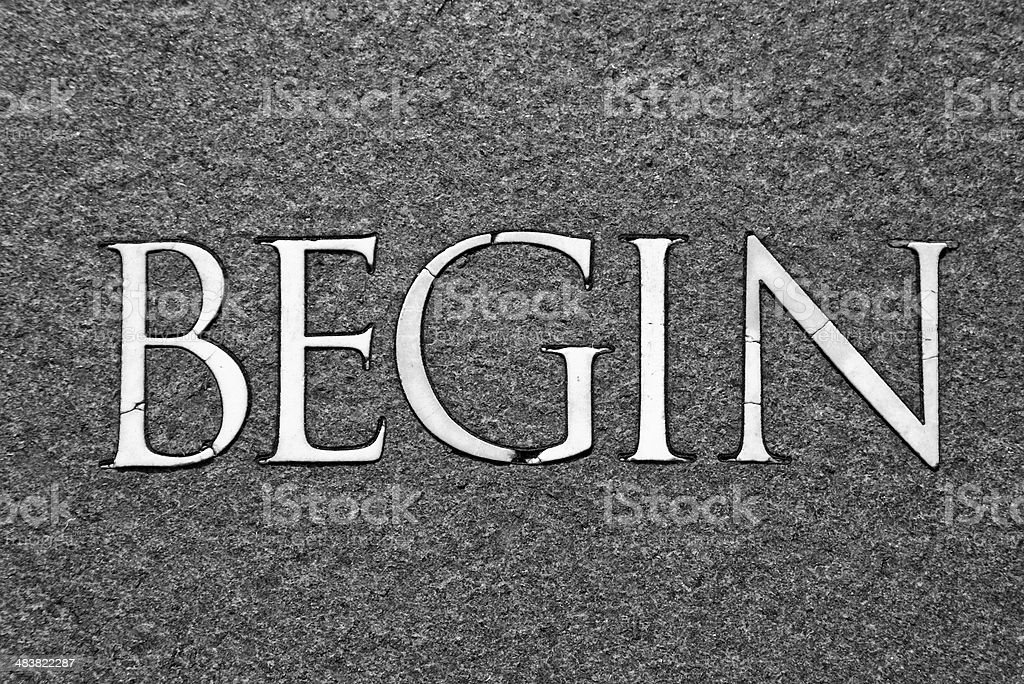 Begin written in stone - BW royalty-free stock photo