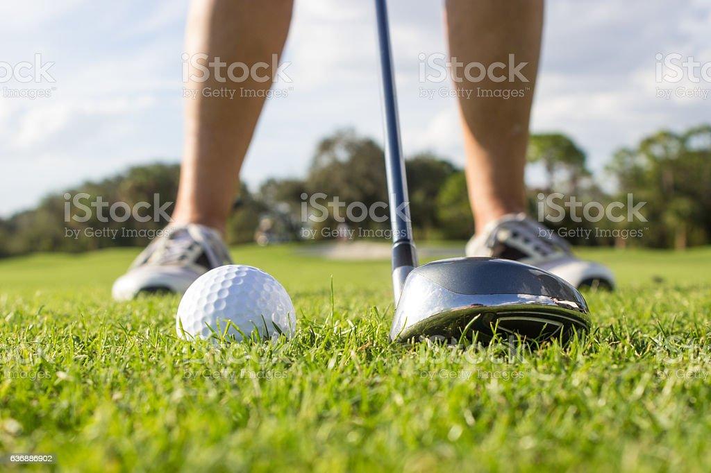 Beginner Hitting Golf Ball stock photo