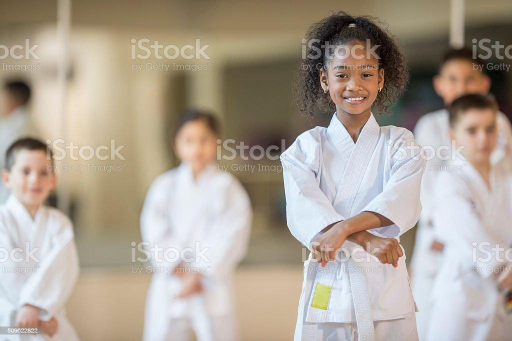 Beginning a Karate Class stock photo