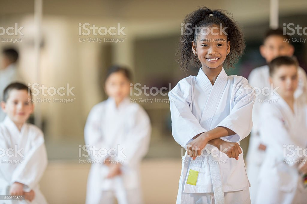 Beginning a Karate Class stock photo