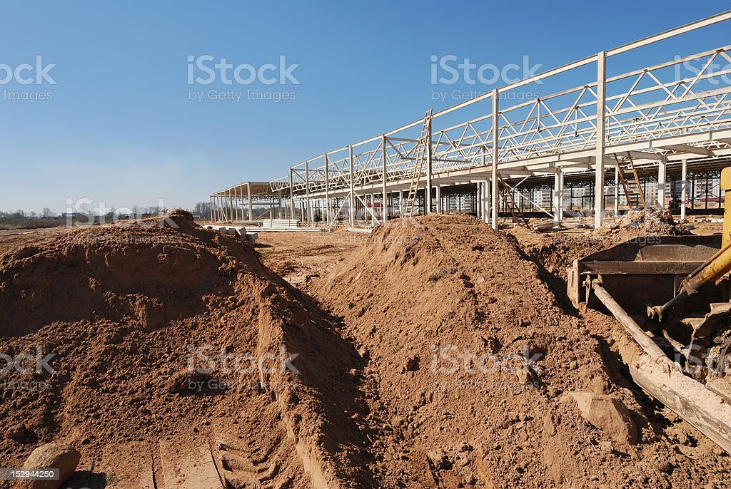Beginning construction of  shopping center royalty-free stock photo