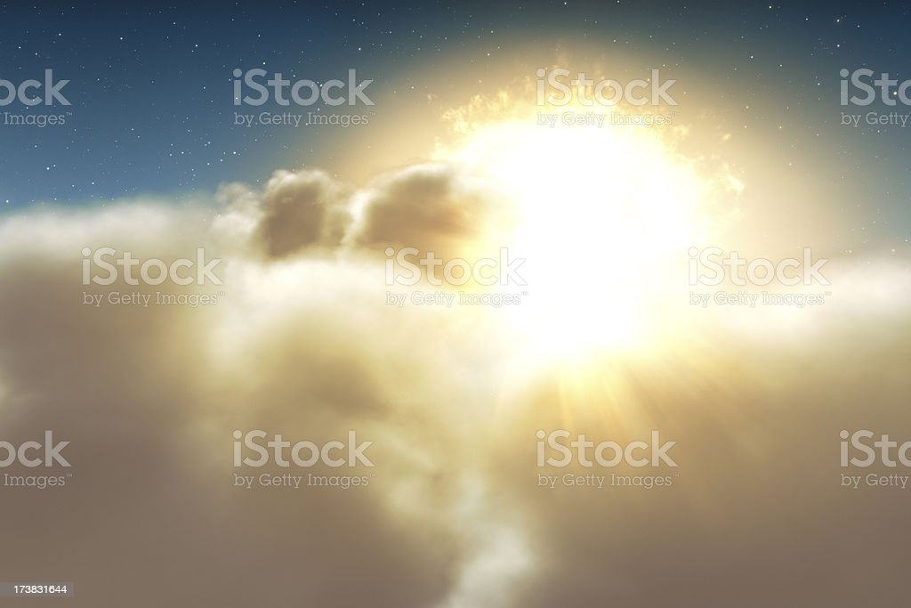 Beginning of a new day - blue stock photo