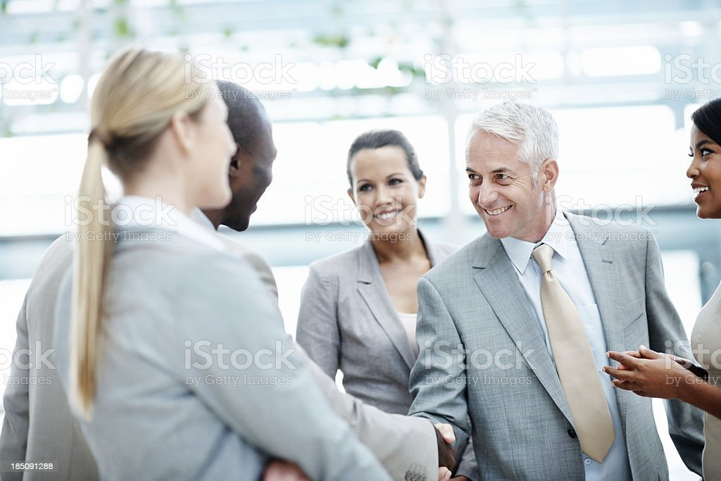 Beginning of a stong business bond royalty-free stock photo