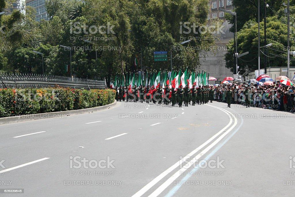 Beginning of México Bicentennial militar parade. stock photo