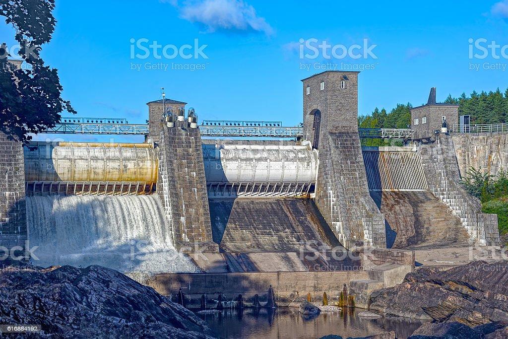 Beginning of spillway on Imatra power station dam stock photo