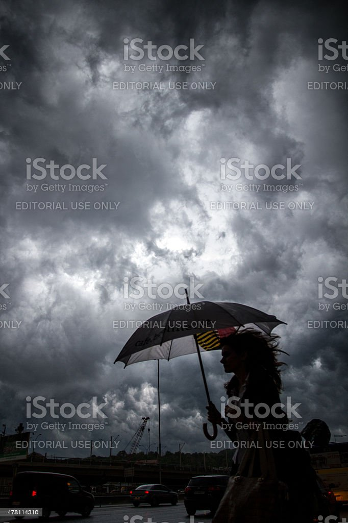 Beginning of storm at street stock photo