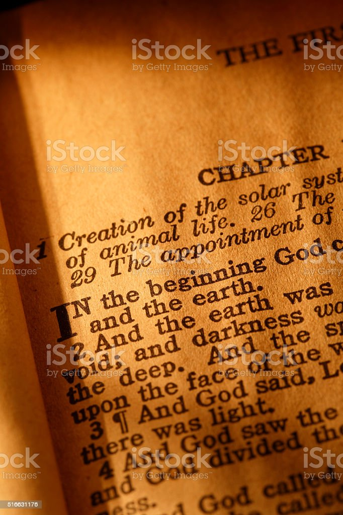 Beginning of the Bible stock photo
