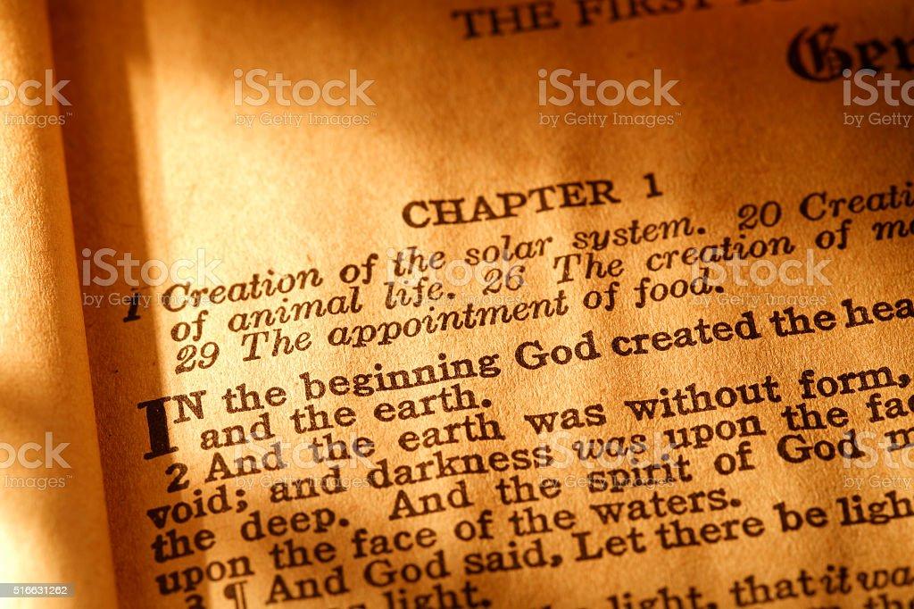 Beginning of the Bible stock photo