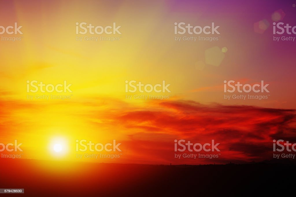 Beginning, or end, of a glorious sunny day stock photo