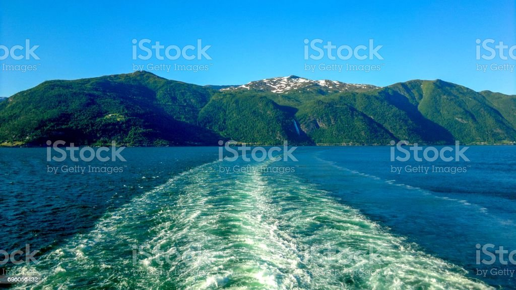 Behind a ship in Flam, Norway, Scandinavia, Europe stock photo