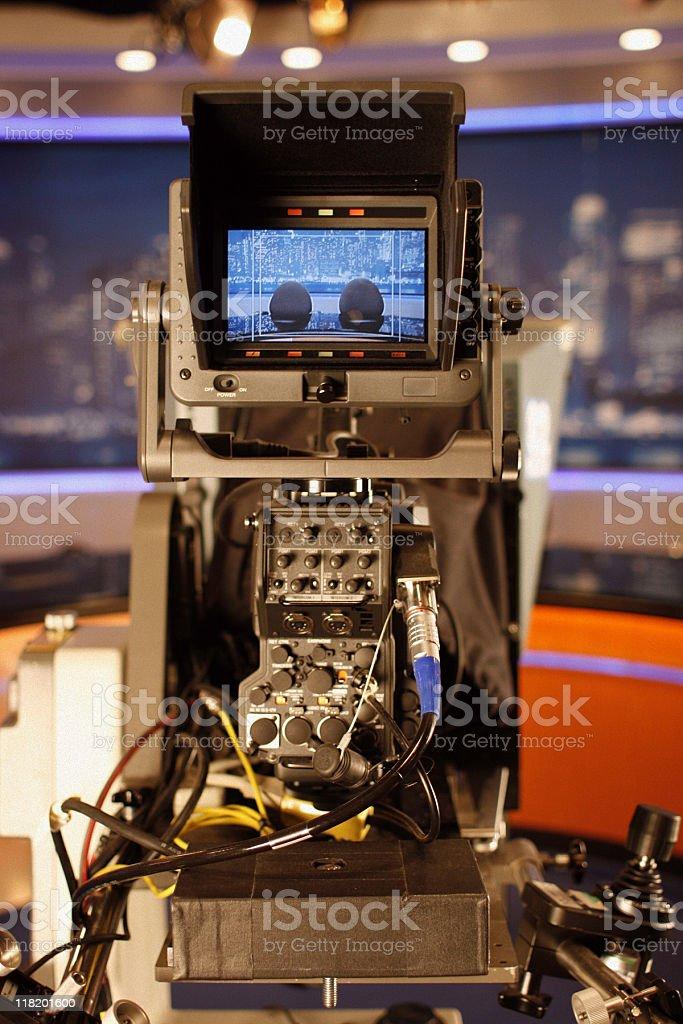 Behind a Television Camera - TV Studio royalty-free stock photo
