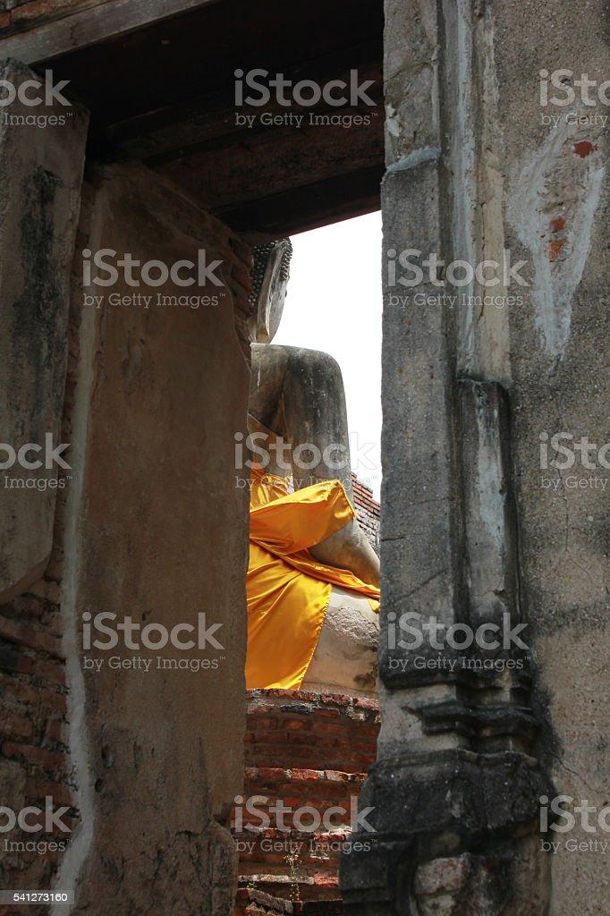 Behind Buddha - Wat Phra Mahathat stock photo