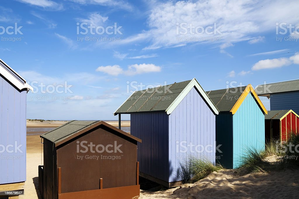 Behind the beach huts royalty-free stock photo