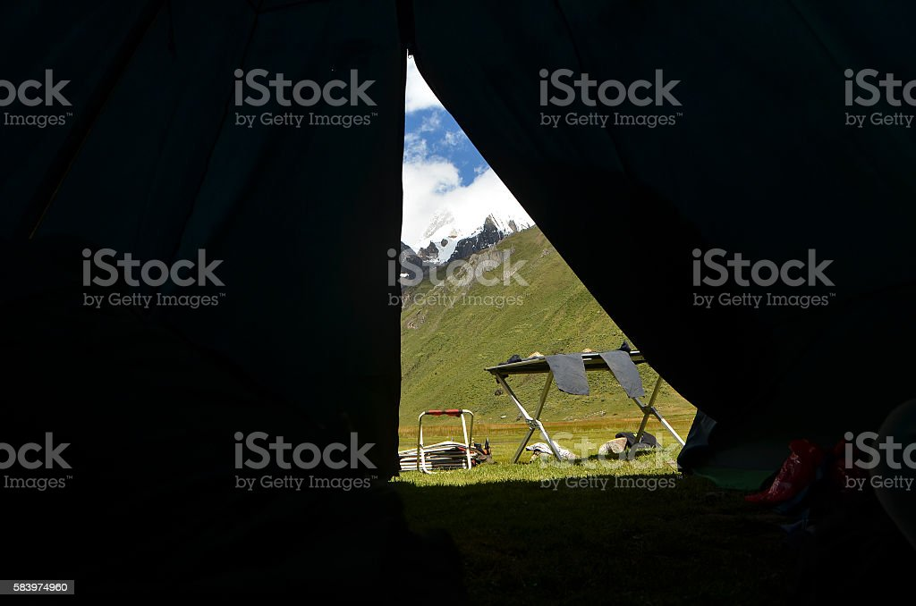 Behind the Curtain of a Tent stock photo