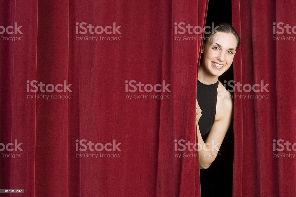 Behind the curtain stock photo